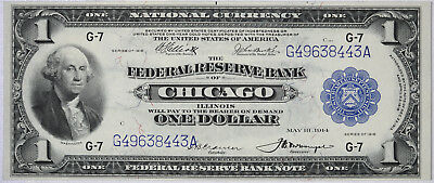 1918 $1 Federal Reserve National Currency Bank Note CHICAGO ILLINOIS Fr. 729