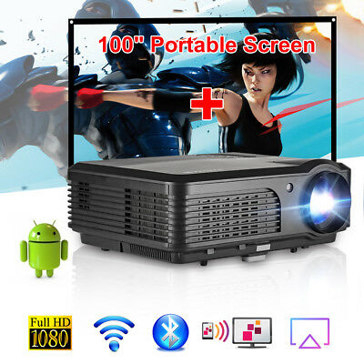LED Video Home Theater Projector Android WiFi Bluetooth HDMI with 100'' Screen
