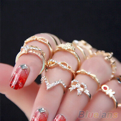 1 Set 7pcs Womens Popular Bowknot Knuckle Midi Mid Finger Tip Stacking Rings R21