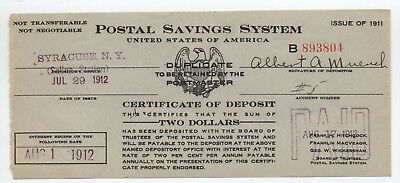 1912 Syracuse NY Postal Savings series 1911 $2 duplicate certificate [4422.2]