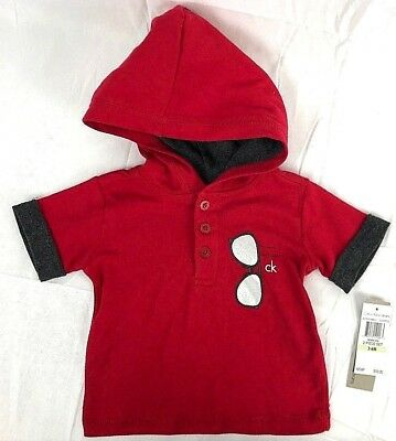 Calvin Klein Jeans Baby Hoodie T Shirt 3-6 Month Sunglasses Red