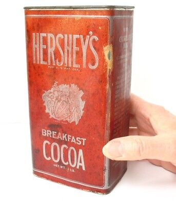 """7"""" Hershey's 1 Lb. Breakfast Cocoa Tin Paper Label Antique/Vintage Advertising"""