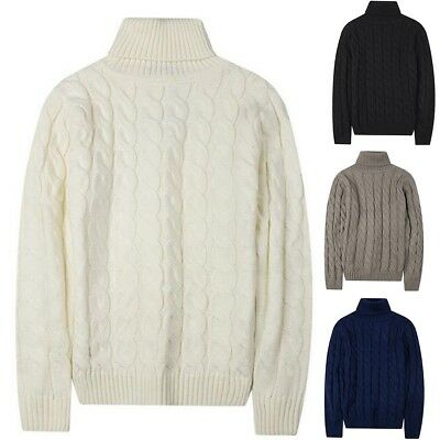 Men's Thermal Cotton Turtleneck Winter Knit Sweaters Tops Stretch T Shirt New