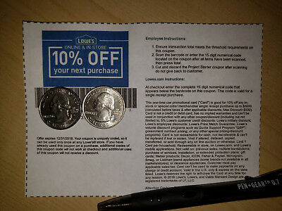 (5)Lowes 10%-Off Coupons-Use In Store Or Online-(FAST SEND AVAIL)