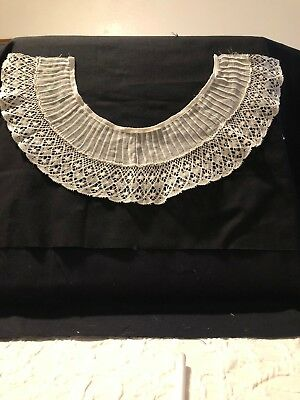 Antique ~ Vintage Lace Collar,Pleated. Cream in color. Beautifully done by hand.