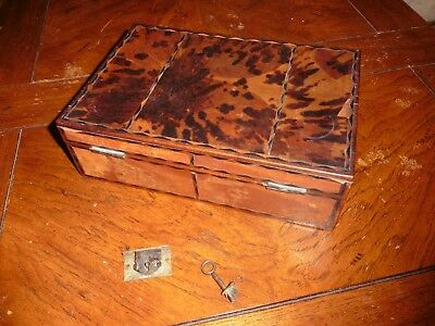 18Th Century Burl Walmart Inlaid Combination Lock Box With Compartments Needs Re