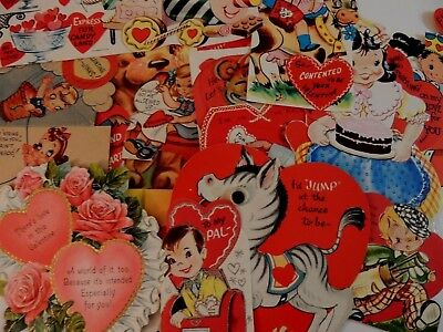 #452  Vintage Valentine Card LOT KID'S ANIMALS FUN CLEVER SAYINGS 1940'S - 60'S