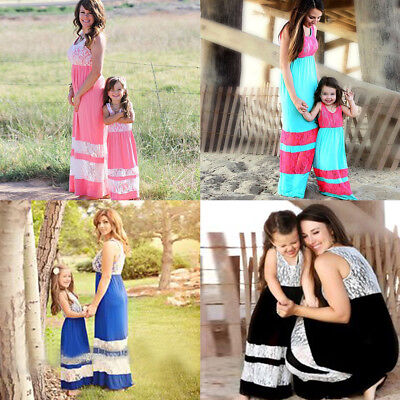 Family Matching Outfit Mother Daughter Kids Girls Summer Lace Boho Long Dresses