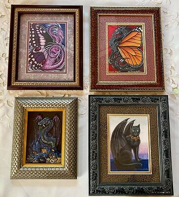 Lot of 4 THERESA MATHERS Original PAINTING Dragonfly Black Cat Monarch Butterfly