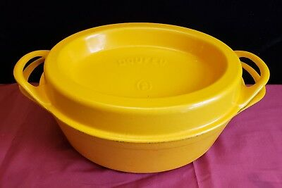 Vintage #16 Cousances Doufeu Enamaled Cast Iron Oval Roaster Yellow 6 Qt
