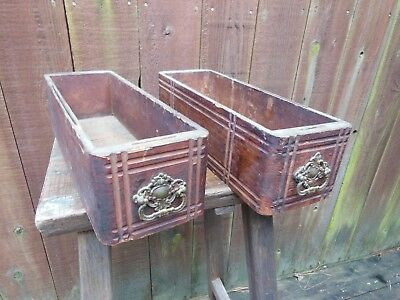 Pair of antique sewing machine table drawers with pulls