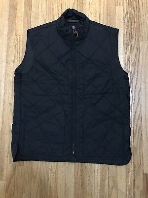 J.CREW Mens Sussex Quilted Vest Navy Blue Size Medium Cotton/Nylon