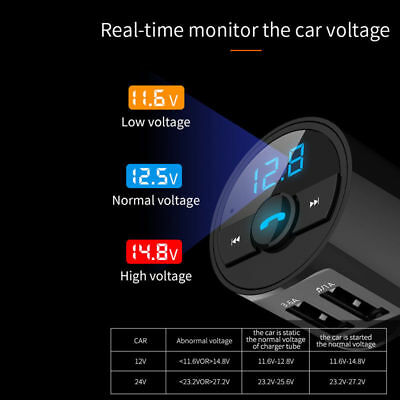 USB Car Charger Fast  Charge Bluetooth FM Transmitter Radio Adapter MP3 Player