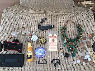 Junk Drawer Lot Strider SMF Clone Coins Zippo Old Pawn Necklace Corona Beer QQ