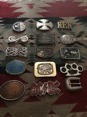 Vintage Lot Of 15 Belt Buckles Fashion, Advertising,AC/DC,KEN,Deer,More