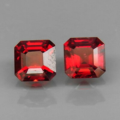 Emerald Cut 5x5 mm.PAIR! Best Color Top Noble Red Spinel MaeSai,Thailand 1.32Ct.