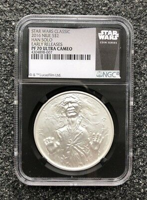 NIUE - Star Wars HAN SOLO - 1oz $2 silver 2016 - NGC PF70 Early Releases Black