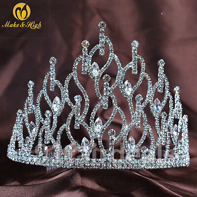 Women Wedding Rhinestone Bridal Crystal Hair Headband Crown Comb Tiara Pageant
