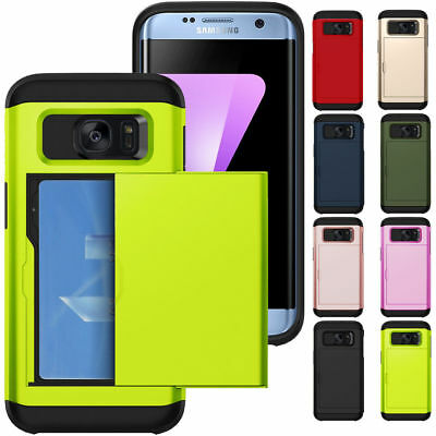 Credit Card Holder Wallet Slide Phone Case Cover For Samsung Galaxy S7 / S7 Edge