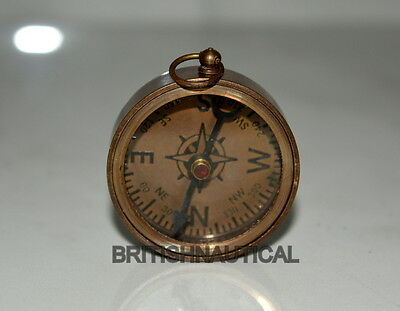 "Antique Vintage Brass 1"" Keychan Compass In Coffee Antique Collectible Gift"