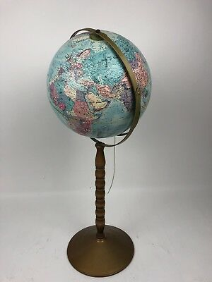 "Vintage 1981 Replogle Rotating 12"" World Classic Globe Floor Stand 38"""