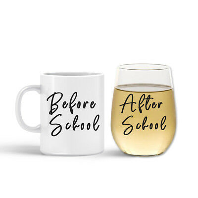 NEW Teacher Mug and Wine Stemless Glass Set- Before School and After School by B
