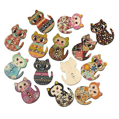 50pcs Mixed Cat Flower Wooden Buttons Fit Sewing Scrapbook Clothing Crafts