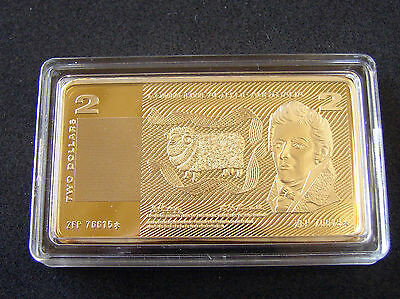 1.15 ounce Gold Plated bar/ingot of $2 Australian Bank Note. Big and spectacular
