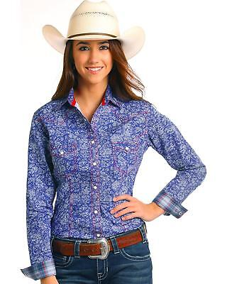 156f032ca Rough Stock by Panhandle Women's Sherbrooke Vintage Print Long Sleeve Shirt  Blue