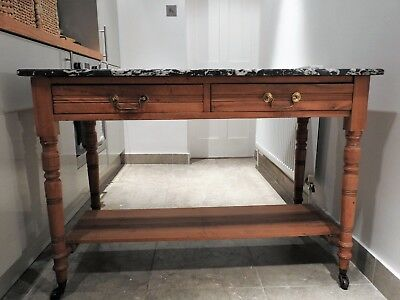 Stunning Antique Victorian Marble Top Table: makes a great kitchen island
