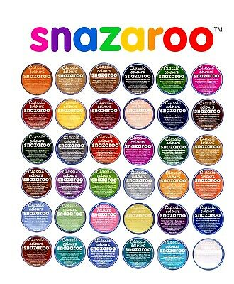 18ml SNAZAROO FACE & BODY PAINTS MAKE UP COLOURS PAINTS FANCY DRESS 57 COLOURS