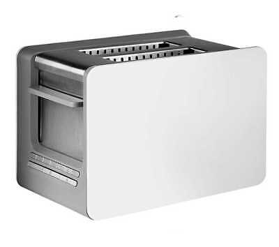 Elgetec White & Steel Wide Slot Multi Function 2 Slice Fast Bread Bagel Toaster