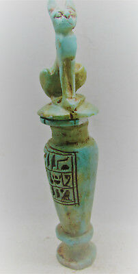 Beautiful Ancient Egyptian Cosmetic Vessel With Bastet And Heiroglyphics