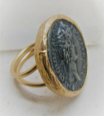 Ancient Style Gold Gilded Ring With Roman Coin Insert Adjustable