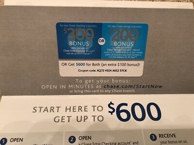 Chase $600 Coupon! - $300 Checking $200 Savings $100 extra for both Exp. 3/05/19