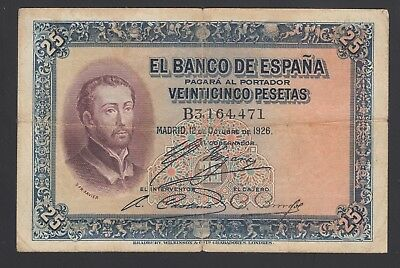 Spain  25 Pesetas 12-10-1926  VG-F  P. 71,    Banknote, Circulated