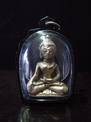 ANTIQUE SILVER SEATED CHIENGSAEN BUDDHA AMULET - PALA INFLUENCE. Cira: 1900's