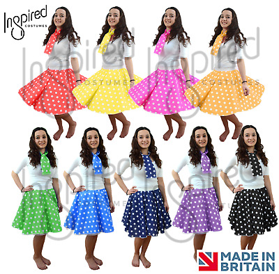 UK LADIES Rock n Roll 1950s COSTUME Polka Dot Skirt FREE SCARF 50's Fancy Dress