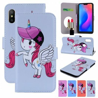 for xiaomi mirror built in unicorn phone cover stand wallet cover pu flip folio