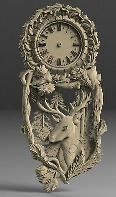 STL 3D model # WALL CLOCK DEER # for CNC Aspire Artcam 3D Printer 3D MAX