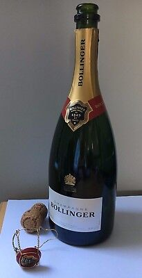 Empty Bollinger  Cuvee Champagne Bottle  Brut 750Ml Upcycling Cork & Cage