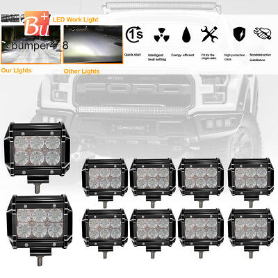 10x 4in 18W CREE LED Work Light Fog Driving Lamp Flood Pod 4WD Off road ATV SUV