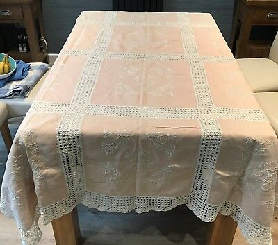 Large table cloth, hand made, crochet and linen - dated 1909 - lovely condition