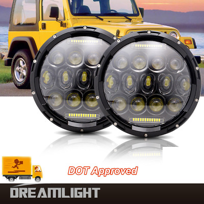 2pcs 7'' Round LED Halo Headlights Hi/Lo Beam Projector For DRL Jeep CJ CJ5 CJ7