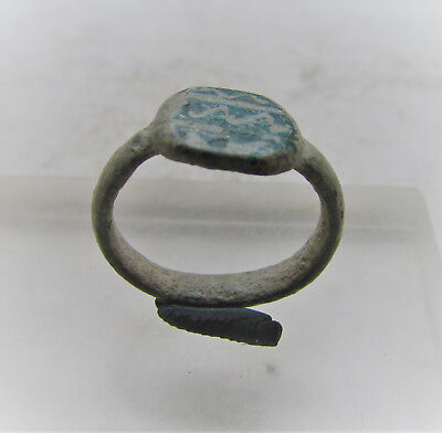 British Found Ancient Roman Bronze Ring With Decorated Bezel