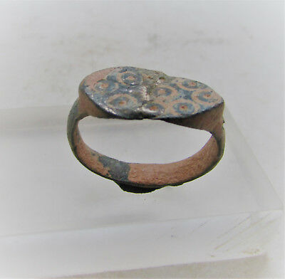 Ancient Saxon Bronze Ring With Evil Eye Motifs Authentic Artefact
