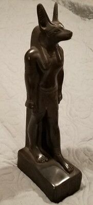 Vintage Anubis Egyptian Figurine Made In Egypt Hieroglyphics Statue