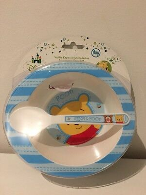 Blue Winnie The Pooh Infant Feeding Set - Bowl And Spoon