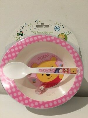 Pink Winnie The Pooh Infant Feeding Set - Bowl And Spoon