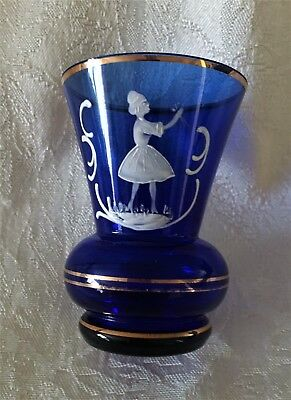 "Mary Gregory Small Cobalt Blue Vase 3 1/8"" Girl with Flowers"